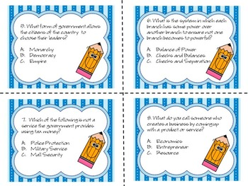 3rd Grade Milestone / CRCT Social Studies Test Prep Task Cards Bundle Pack