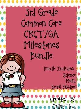 3rd Grade Bundle CRCT/GA Milestones, CC Science, SS, & Mat