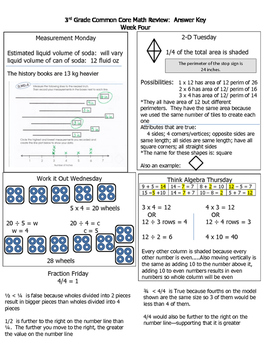 3rd Grade CROCCS--Entire Year:  Answer Key