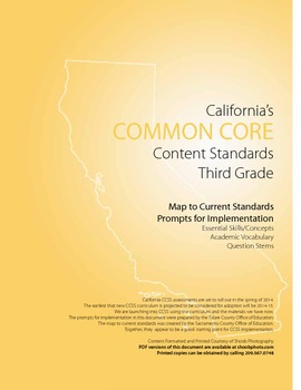3rd Grade Ca Common Core Content Standards with Prompts for ELA and Math Booklet