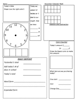 3rd Grade Calendar Math Aug/September through May/June