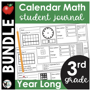 3rd Grade Calendar Math Student Journal Bundle- from August to May!