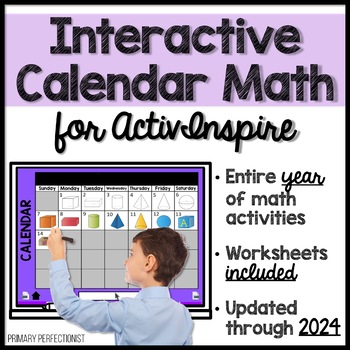 Calendar Math for ActivInspire & Workbook Pages UPDATED FOR 2018-19 SCHOOL YEAR!
