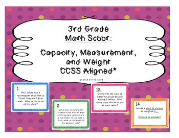 3rd Grade Capacity, Measurement, and Weight Math Scoot CCSS Aligned