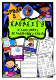 3rd Grade Capacity - Vocabulary Cards + Worksheets