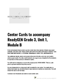3rd Grade Center Task Cards to Accompany ReadyGEN Reading Unit 1, Module B