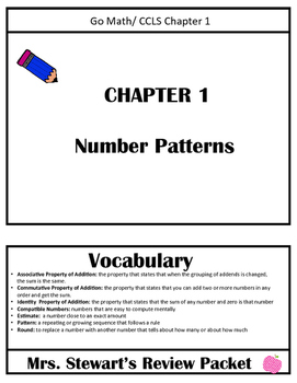 3rd Grade- Chapter 1 Go Math Review Packet