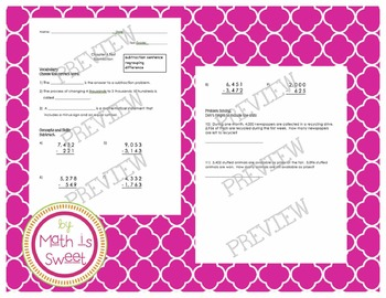 3rd Grade Chapter 4 Subtraction Test (2 versions!)- Math in Focus Singapore Ed.