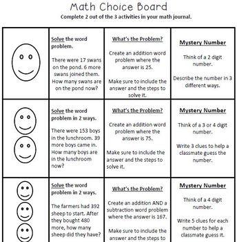 3rd Grade  Math Choice Board Pack