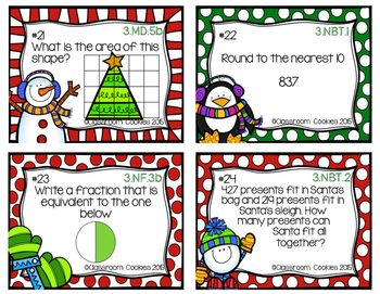 3rd Grade Christmas Math Task Cards (Common Core Aligned)