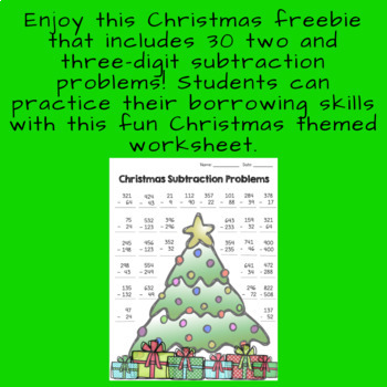 3rd Grade Christmas Subtraction Problems Freebie!