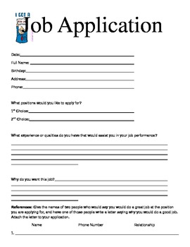 3rd Grade Classroom Economy Job Application