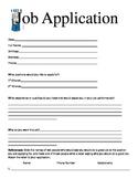 3rd Grade Classroom Economy Job Application