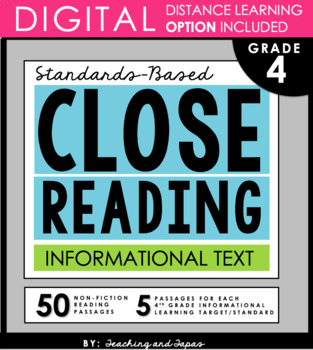 4th Grade Close Reading Comprehension Passages and Questions- Informational
