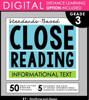 3rd Grade Close Reading  - Informational Text (with DISTANCE LEARNING option)
