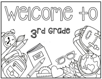 3rd grade coloring page by christa leigh designs tpt. Black Bedroom Furniture Sets. Home Design Ideas