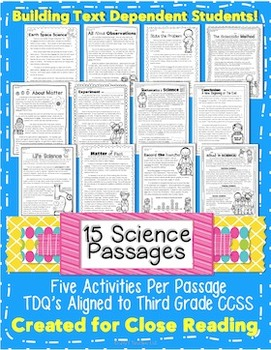 3rd Grade Common Core: 15 Science Passages Weekly Close Re