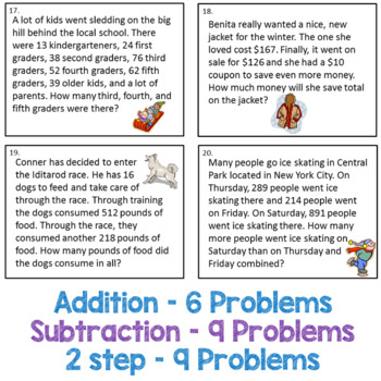 Addition and Subtraction Task Cards  for Winter - 3.NBT.2