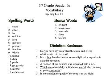 3rd grade common core aligned academic vocabualry spelling lists. Black Bedroom Furniture Sets. Home Design Ideas