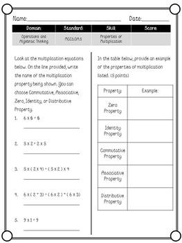 3rd Grade Common Core Aligned Math Quizzes Set 2