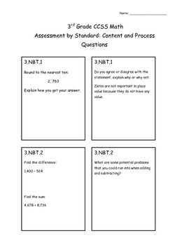 3rd Grade Common Core Assessment by Standard: Content and Process Questions