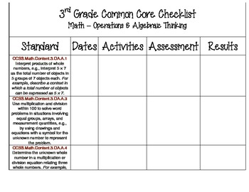 3rd Grade Common Core Checklist - Math