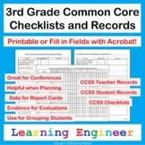 3rd Grade Assessments, 3rd Grade Common Core Checklist, Data Tracking