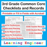 3rd Grade Checklists: Common Core ELA & Math with Digital Fillable PDFs & Zoom