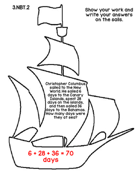 3rd Grade Common Core Columbus Day Math Assessment Task