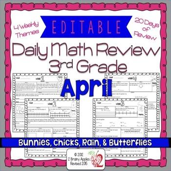 Math Morning Work 3rd Grade April Editable