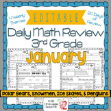 Math Morning Work 3rd Grade January Editable