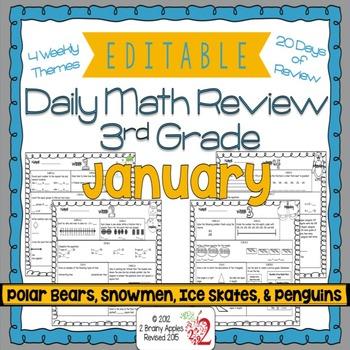 Math Morning Work 3rd Grade January Editable