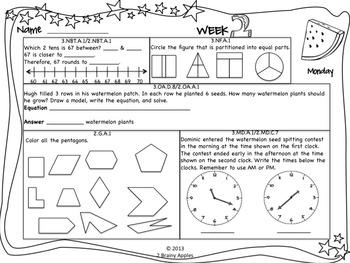 Math Morning Work 3rd Grade July Editable