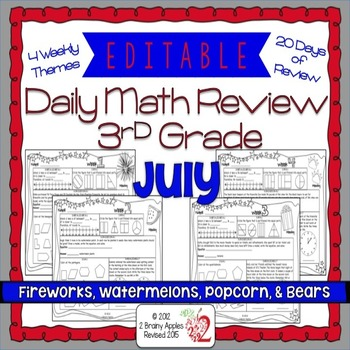 Math Morning Work 3rd Grade July Editable