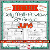 Math Morning Work 3rd Grade June Editable