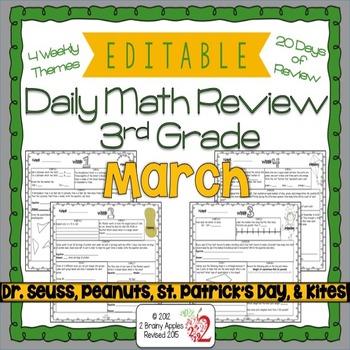 Math Morning Work 3rd Grade March Editable By Heather Leblanc