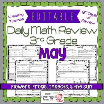 Math Morning Work 3rd Grade May Editable