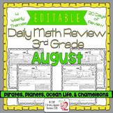 Math Morning Work 3rd Grade August Editable