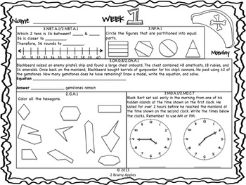 Math Morning Work 3rd Grade August Editable