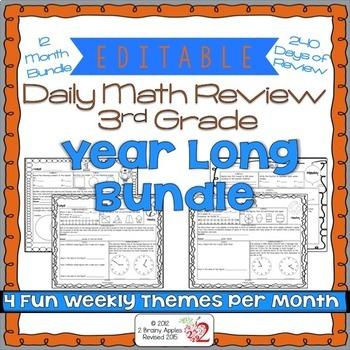 Math Morning Work 3rd Grade Bundle Editable