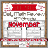 Math Morning Work 3rd Grade November Editable