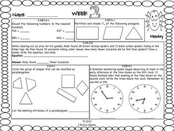 Math Morning Work 3rd Grade October Editable
