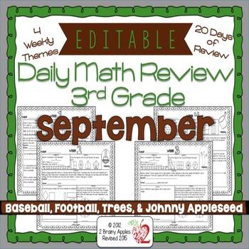 Math Morning Work 3rd Grade September Editable
