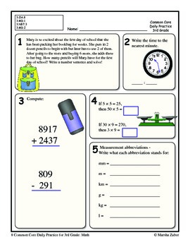 3rd Grade Common Core Daily Practice - Packet 1