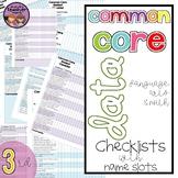 Common Core Data Checklists Math and ELA 3rd Grade