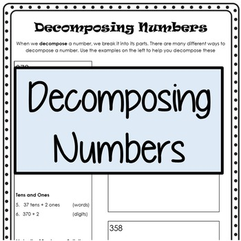 Decomposing Numbers by Kendra Seitz | Teachers Pay Teachers