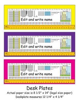 3rd Grade Common Core Desk Plates: Editable & 6 Colors
