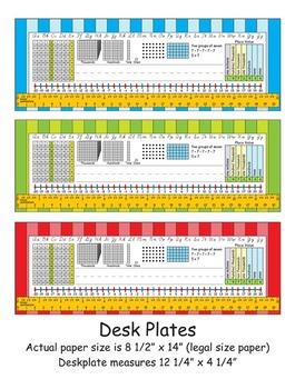 3rd Grade Common Core Desk Plates: Stripes