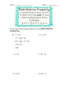 3rd Grade Common Core Distributive Property Worksheet by Jennifer Caine