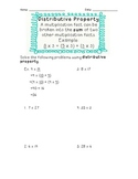 3rd Grade Common Core Distributive Property Worksheet